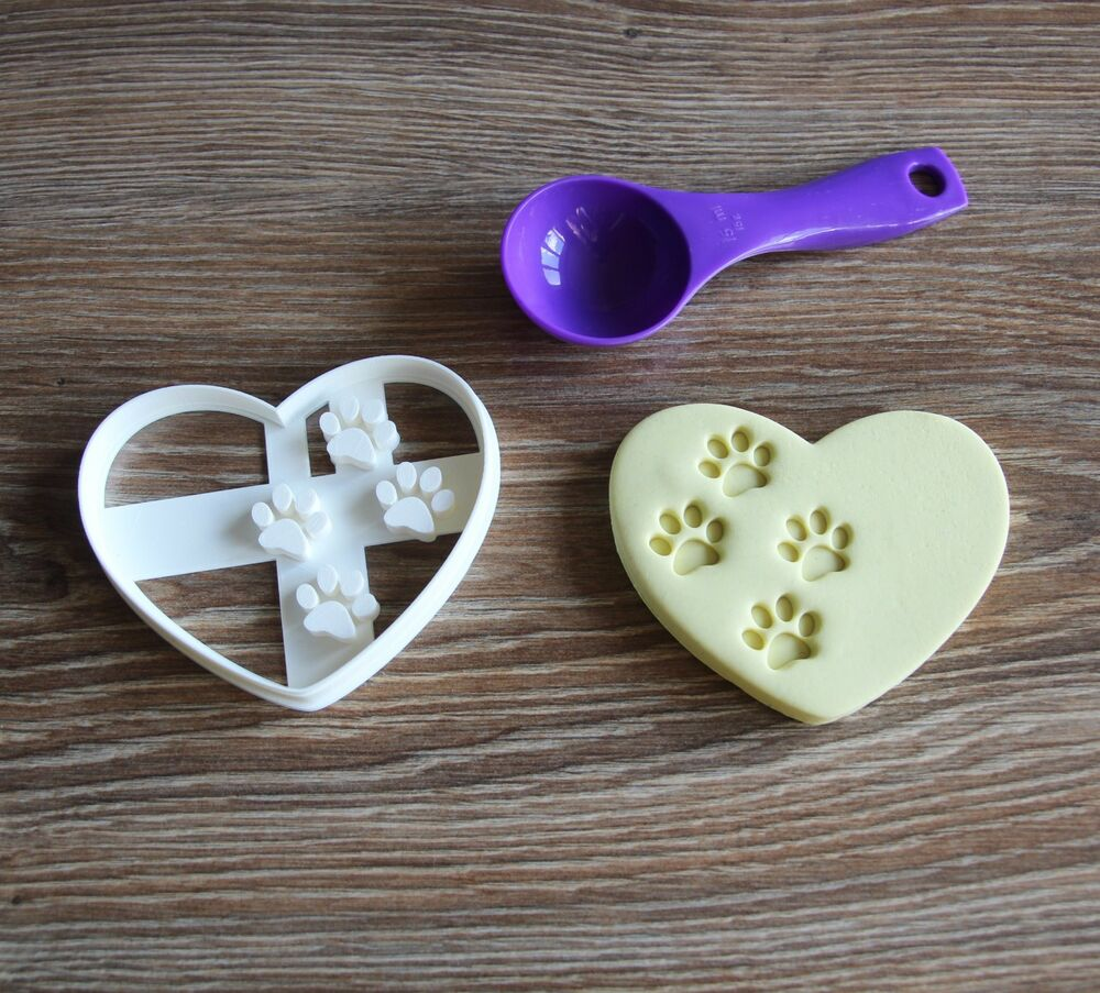 Heart With Paw Prints Cookie Cutter Treat Dog Paw Print Love