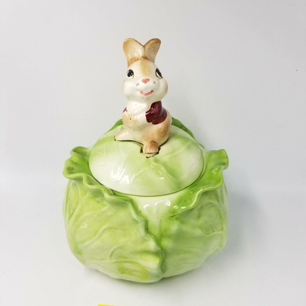 Metlox Pottery Cabbage Easter Bunny Cookie Jar Ceramic Easter