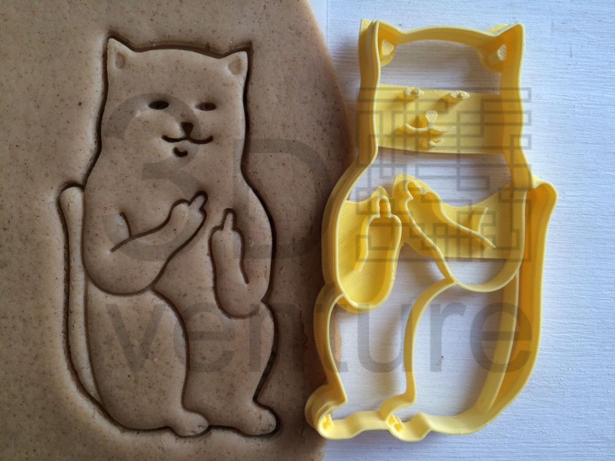 Buy Cookie Cutter Cat With Middle Finger Sceptical Cookiecutter