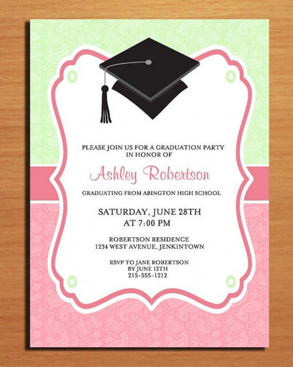 Simple High School Graduation Party Invitation For Girl