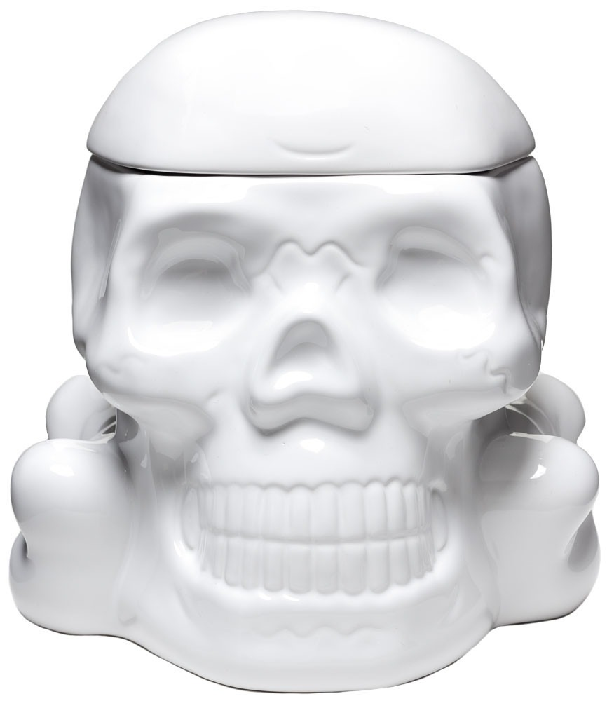 Sourpuss Skull Cookie Jar White