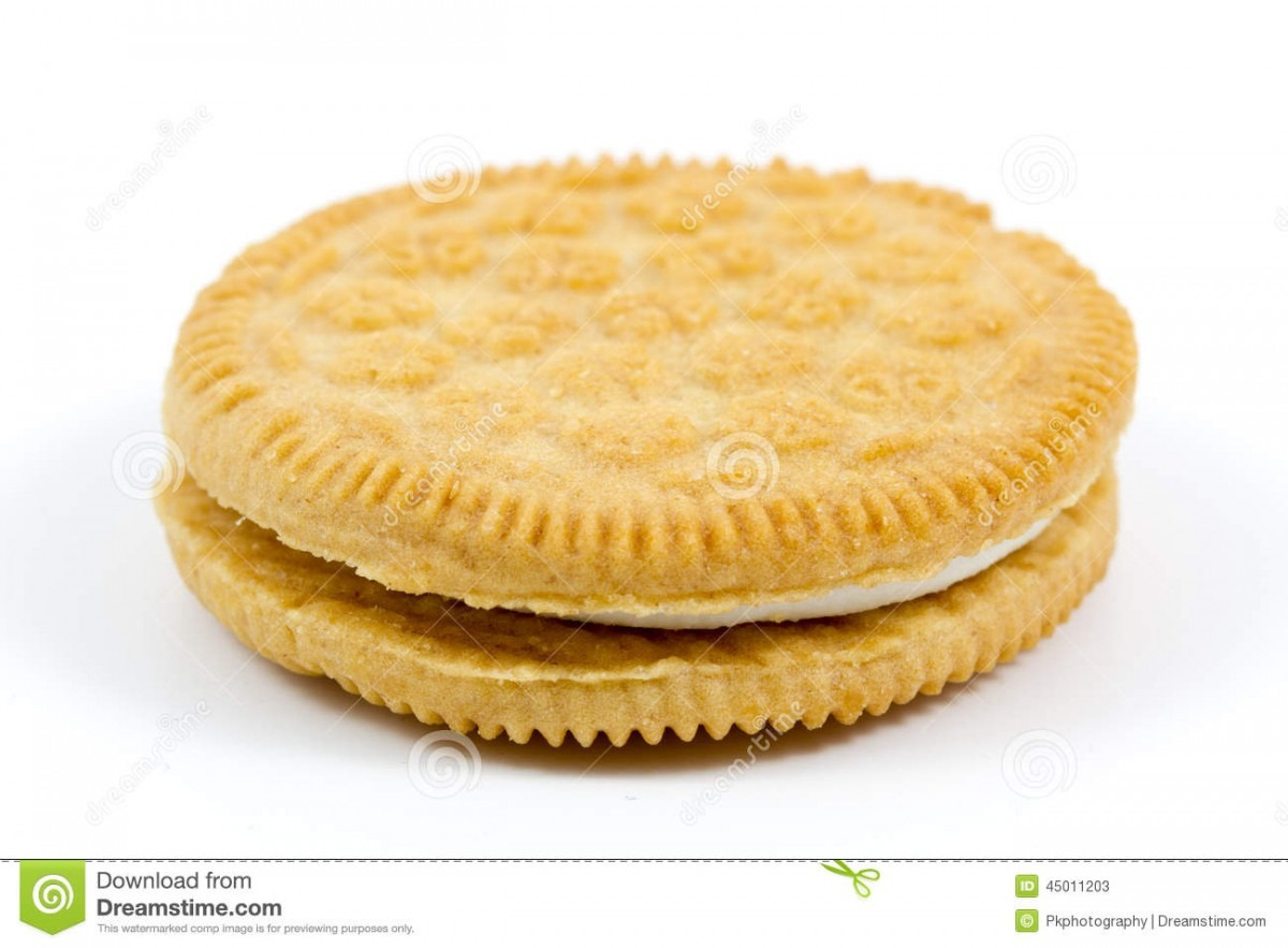 Vanilla Cookie With Cream Filling On White Background Stock Image