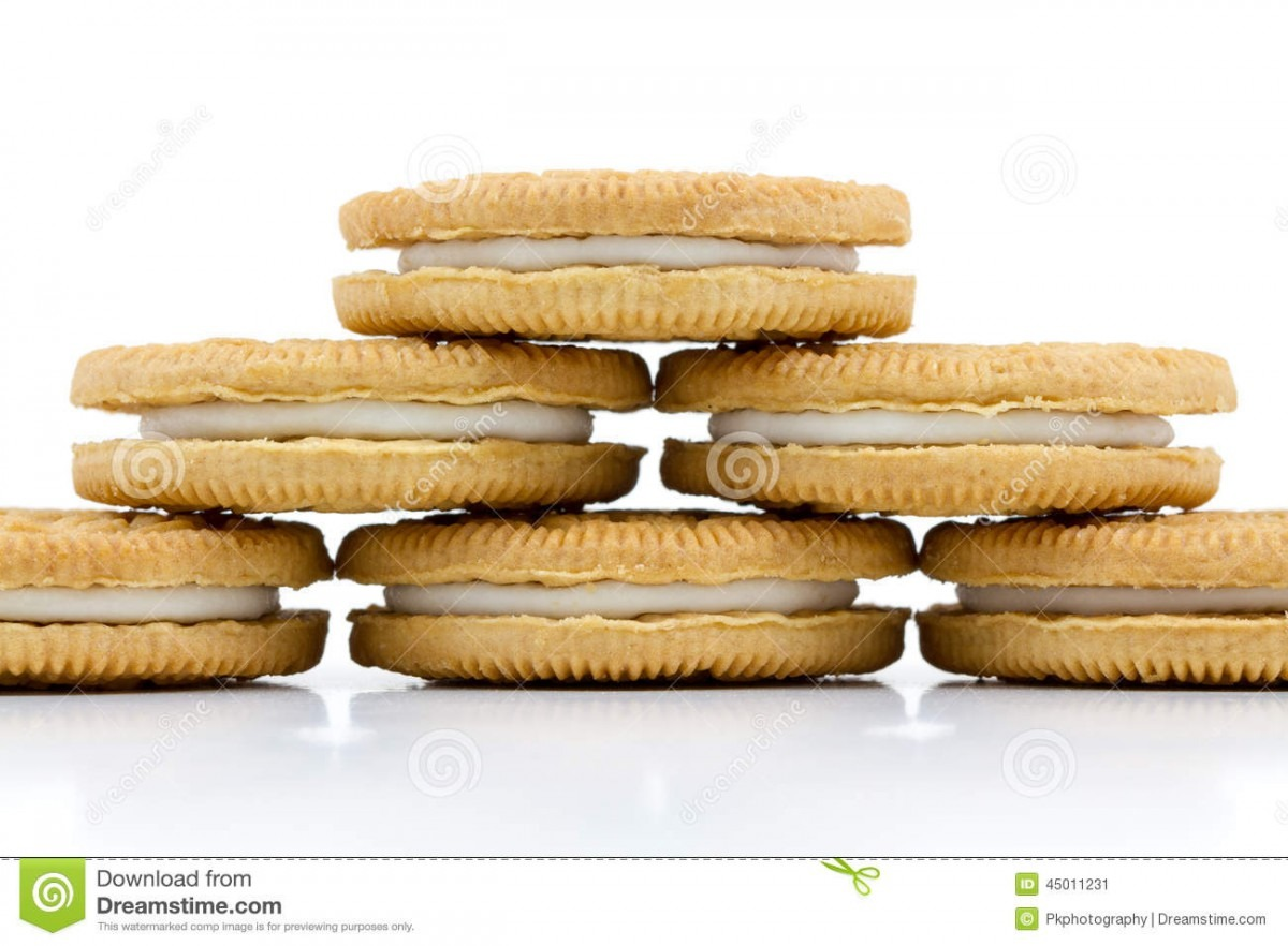 Vanilla Cookies With Cream Filling On White Background Stock Image