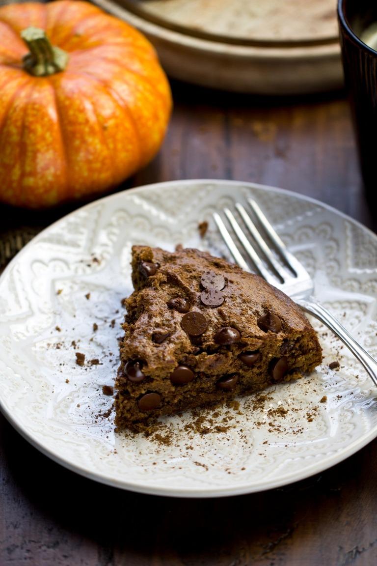 Vegan Pumpkin Spice Chocolate Chip Cookie Cake