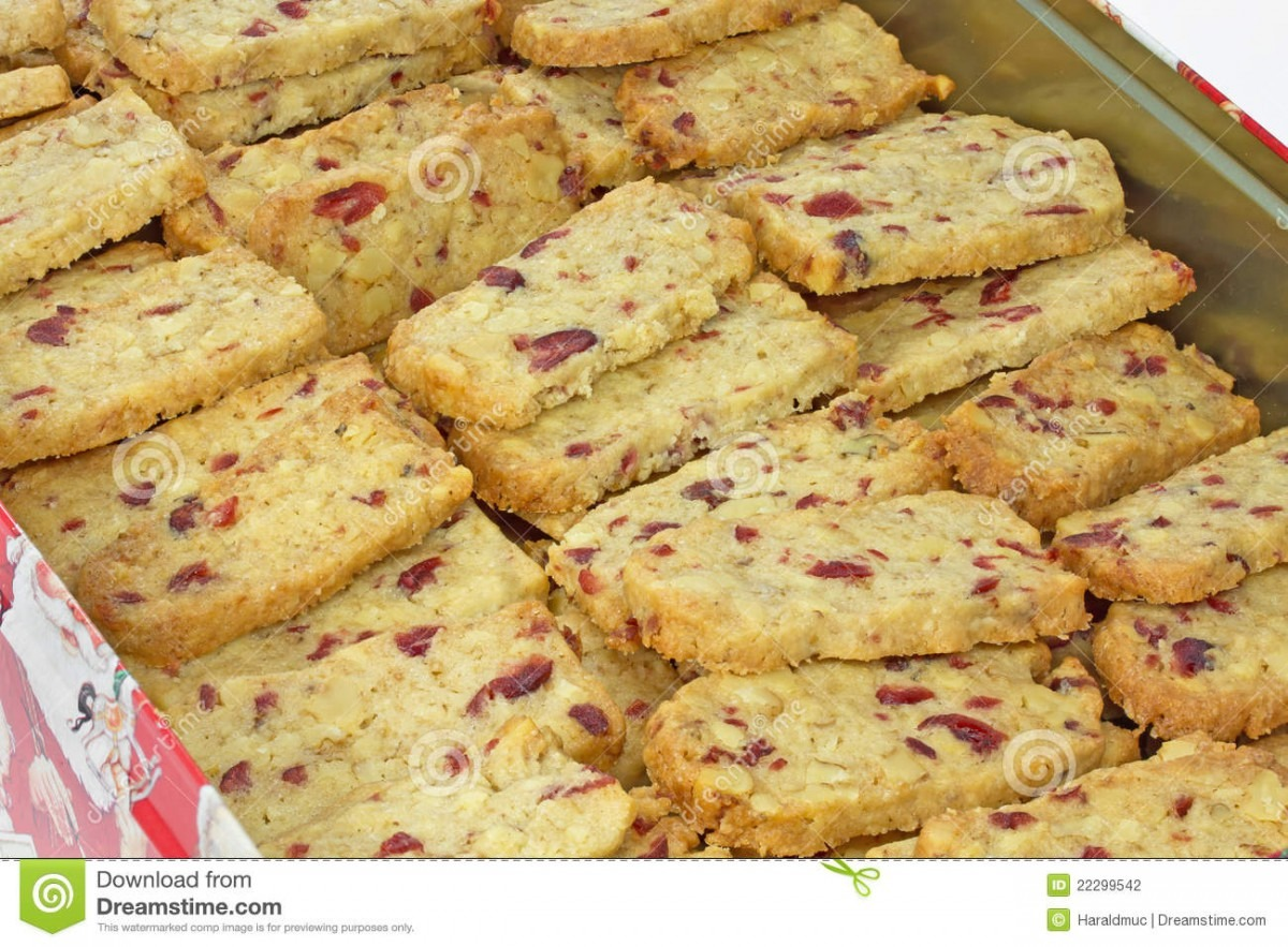 Walnut Cranberry Christmas Cookies Stock Photo