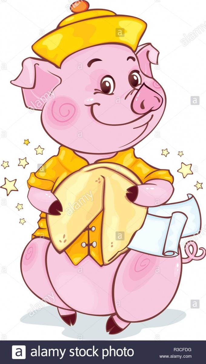 Yellow Earthy Pig With Fortune Cookie For The New Year 2019  Cute