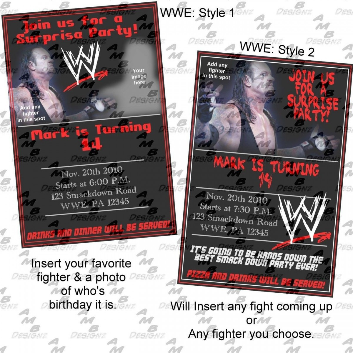 Wwe Birthday Invitations & Matching Party Supplies Available