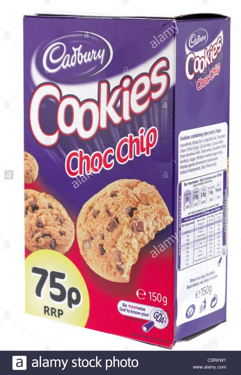 150 Gram Box Of Cadbury Choc Chip Cookies Stock Photo  36785197