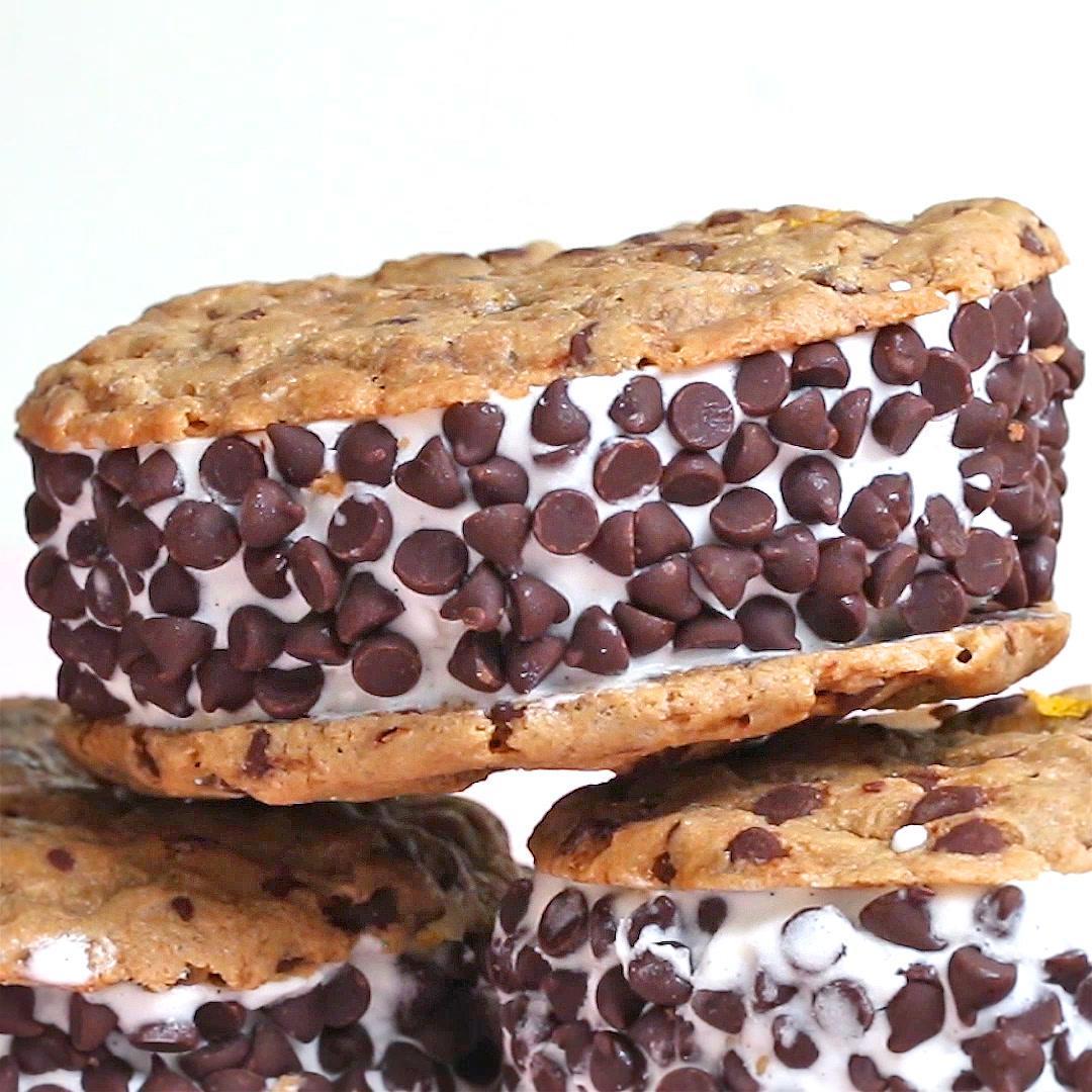 Vegan Chocolate Chip Cookie Ice Cream Sandwiches Recipe By Tasty