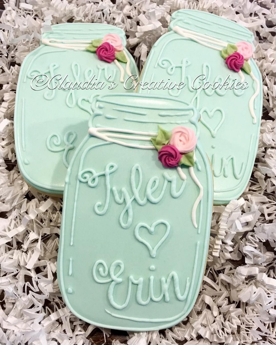 Simple Mason Jar Wedding Favors  Decoratedcookies