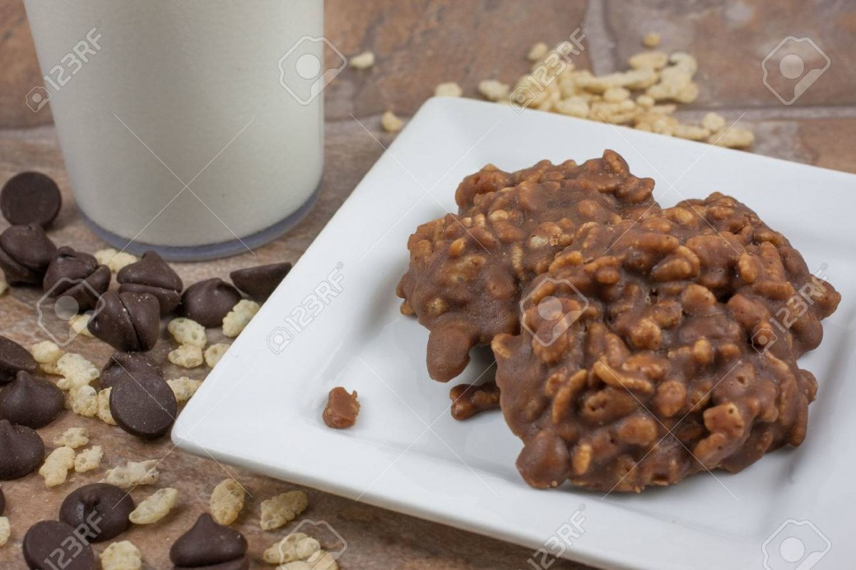 Chocolate And Crispy Rice No Bake Cookies  Stock Photo, Picture