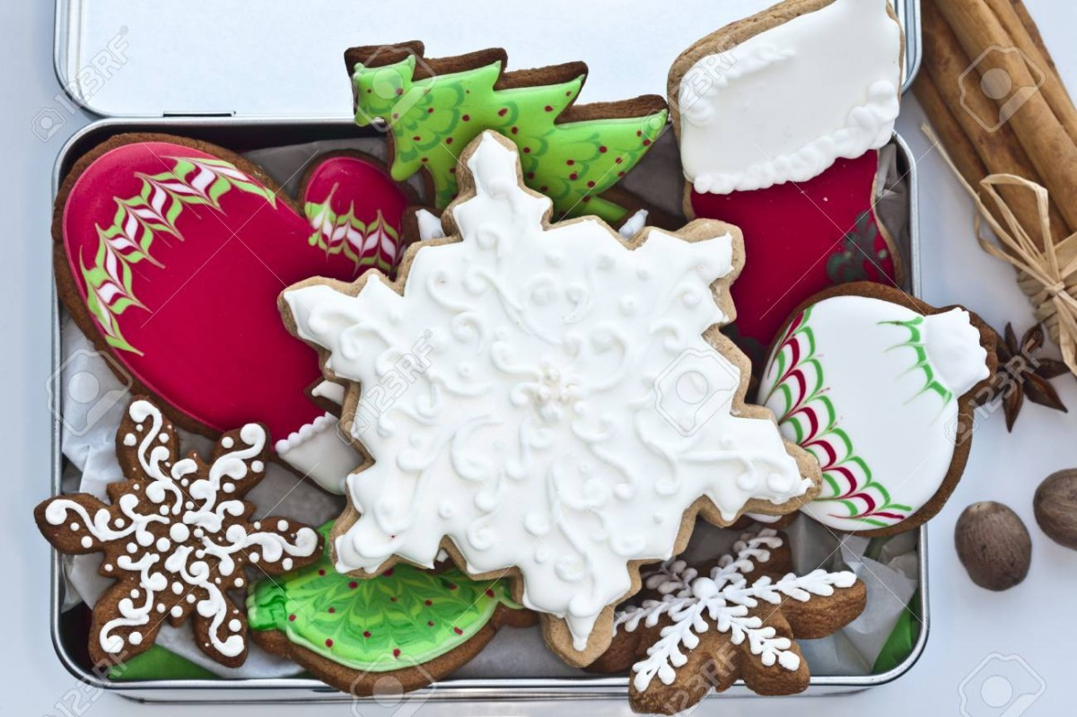 Festive Iced Gingerbread Cookies In Tin Box  Stock Photo, Picture