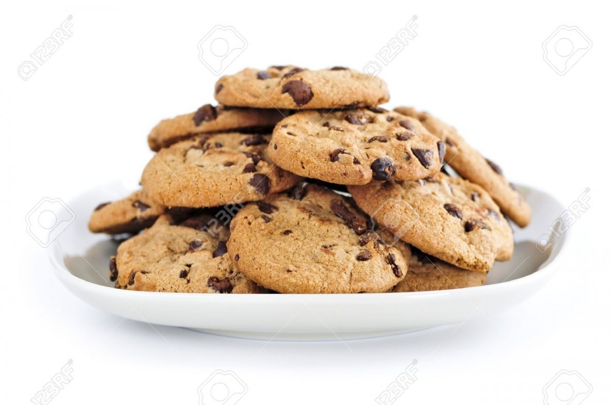 Plate Of Chocolate Chip Cookies Isolated On White Background Stock