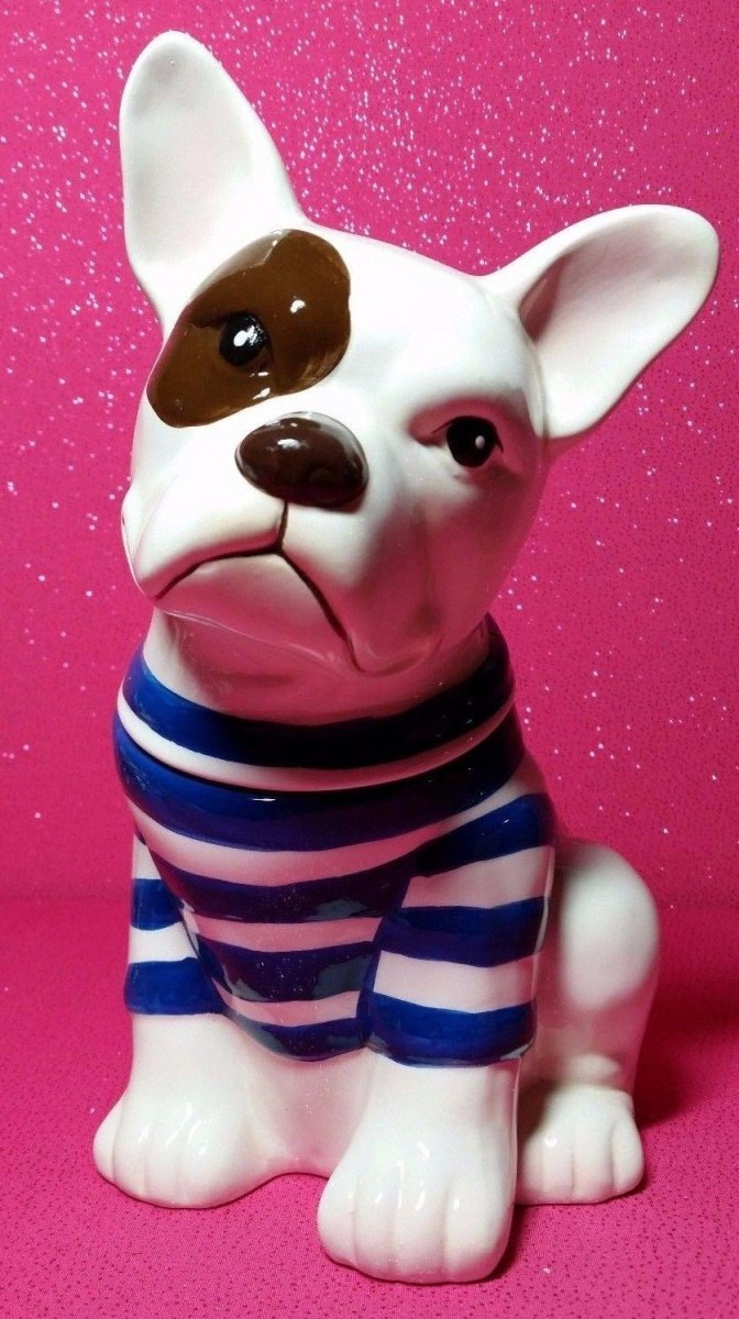 World Market  French Bulldog  In Striped Sweater Ceramic Cookie