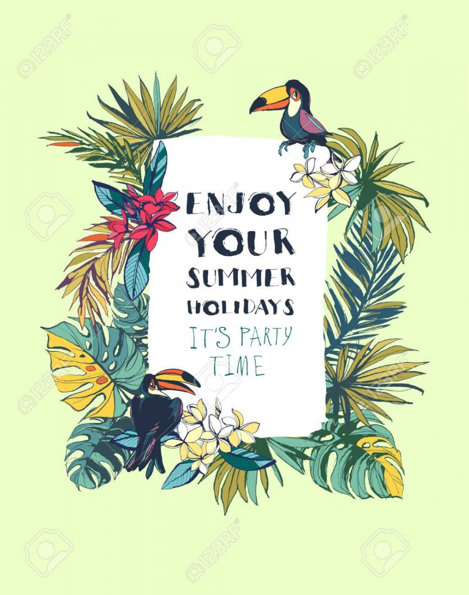 Vector Illustration Tropical Floral Summer Beach Party Invitation