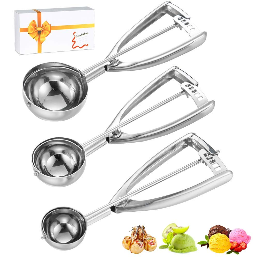 Amazon Com  Cookie Scoops Set Of 3, Excellent 18 8 Stainless Steel