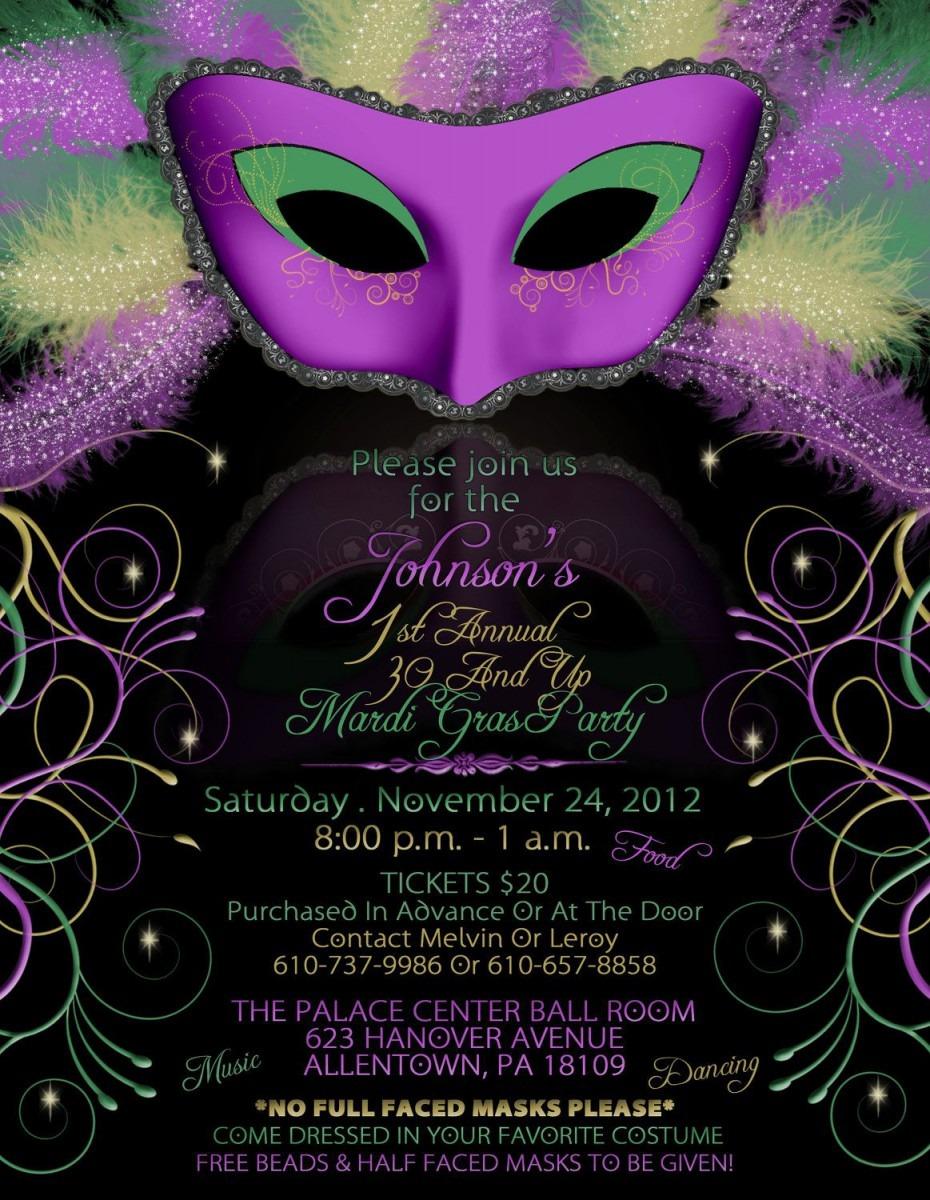 Mardi Gras Wedding Invitation Wording