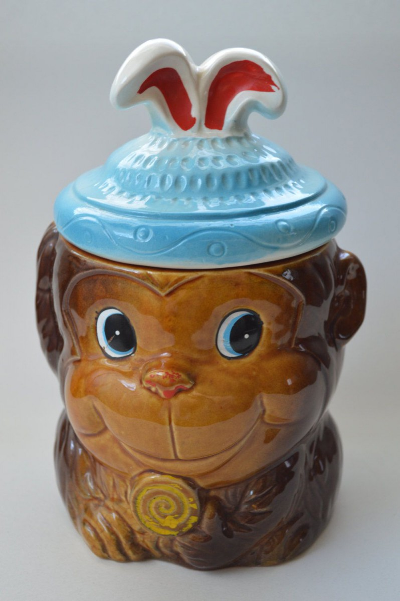 Vintage Ceramic Monkey Cookie Jar With Funny Hat And Lollipop By