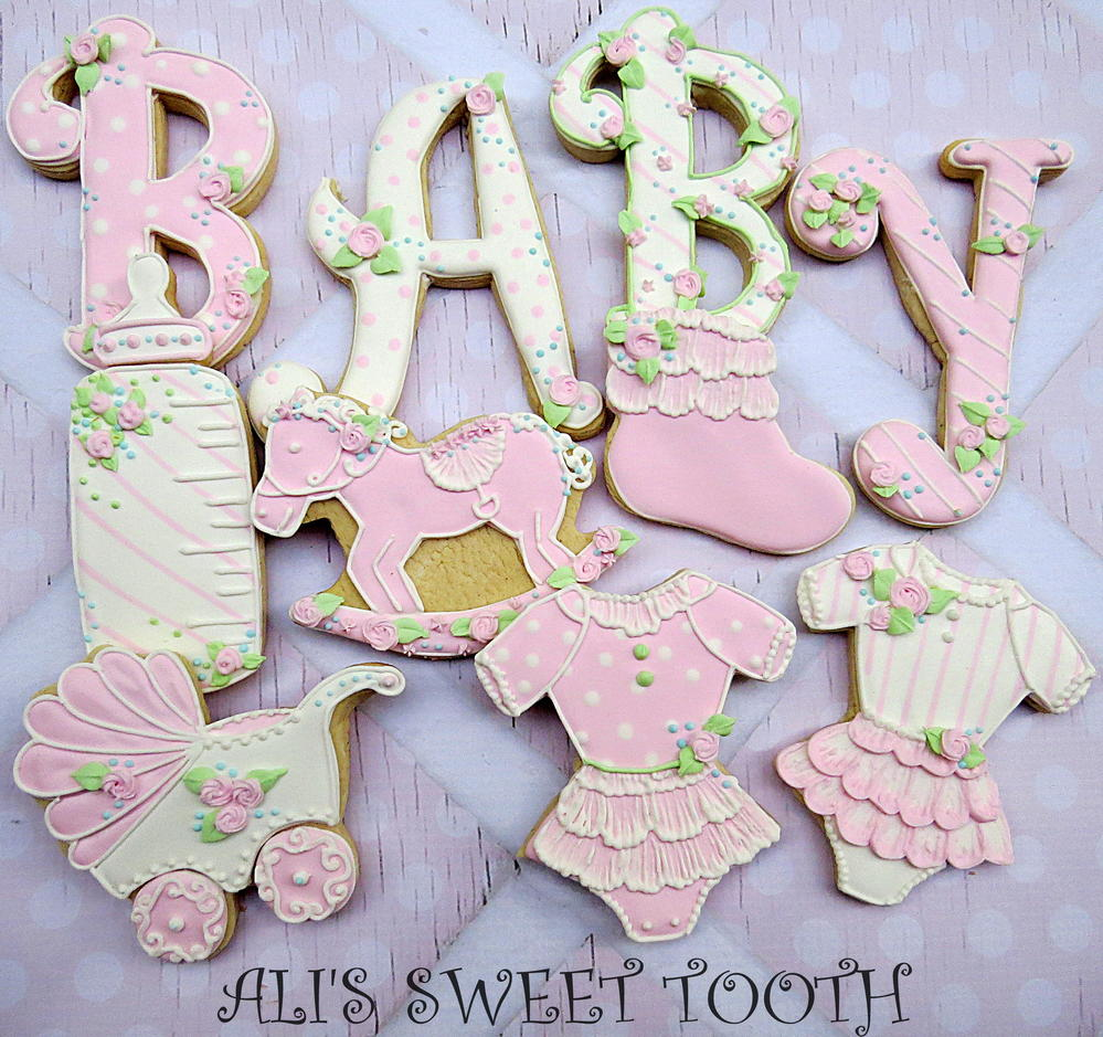 Ali's Sweet Tooth Baby Shower Cookies Pink