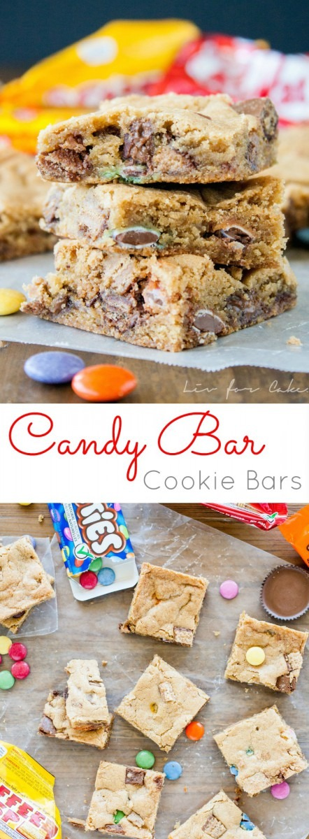 Candy Bar Cookie Bars   Liv For Cake