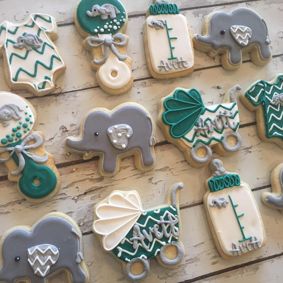 Chevron Elephant Baby Shower Cookies