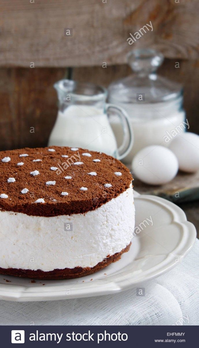 Chocolate Cake With Cream And Oreo Cookie Crumbs Stock Photo