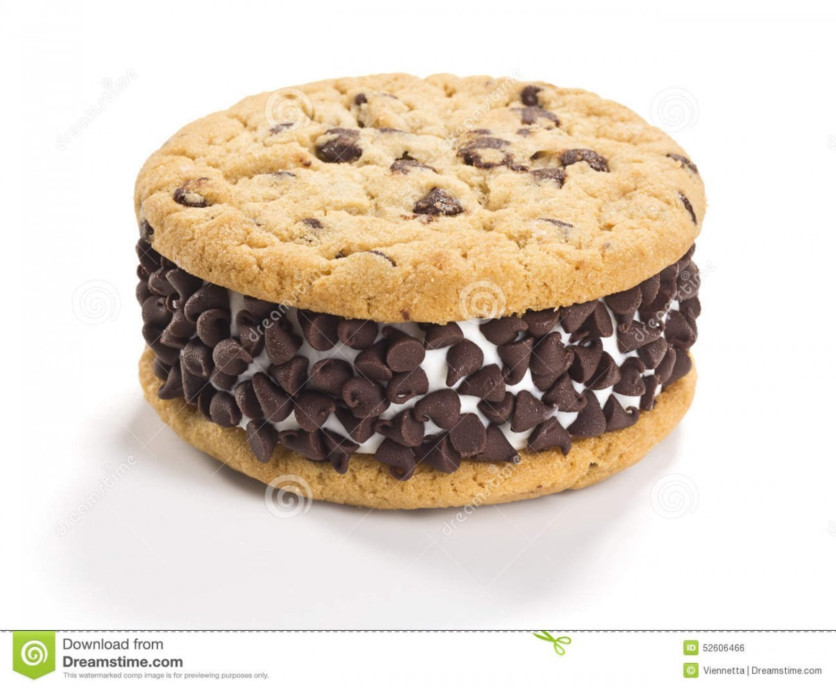 Chocolate Chip Cookie Ice Cream Sandwich On White Background Stock