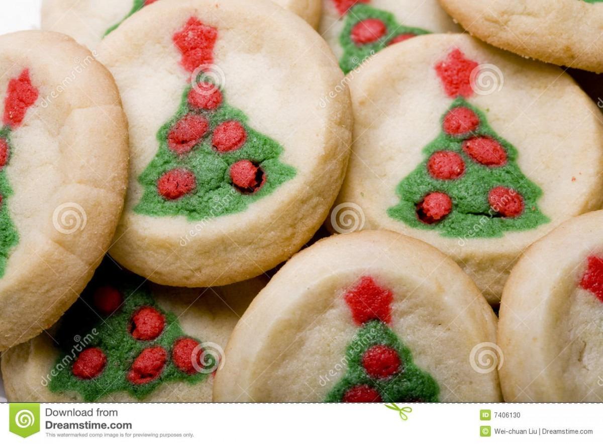 Christmas Tree Sugar Cookies Stock Photo