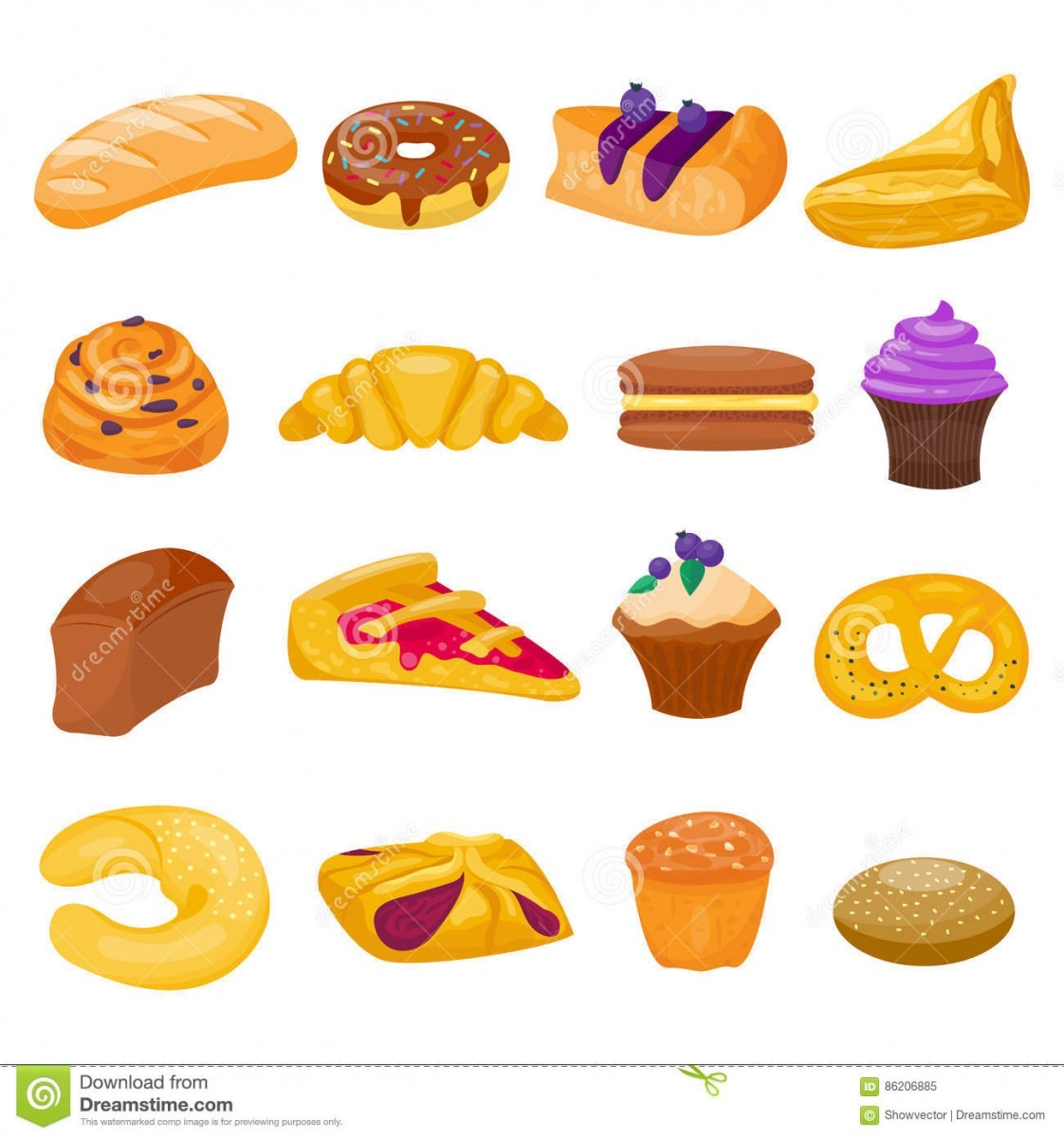 Cookie Cakes Isolated Vector Set Stock Vector