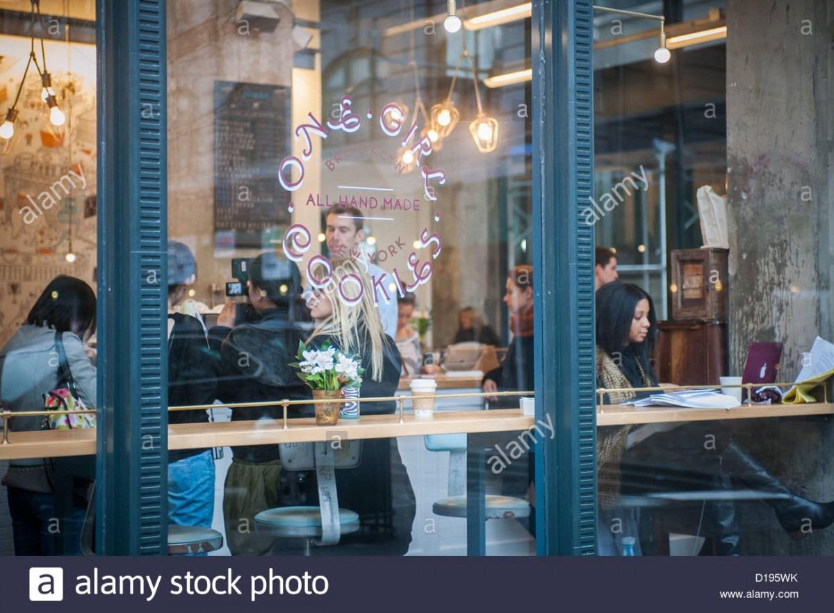 Customers Shop At One Girl Cookies In The Dumbo Neighborhood Of