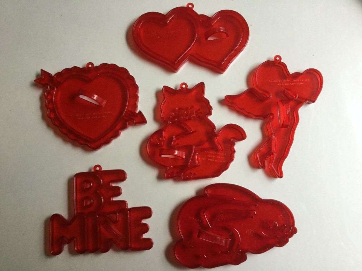 Vintage 60s 6 Red Plastic Valentine Cookie Cutters By
