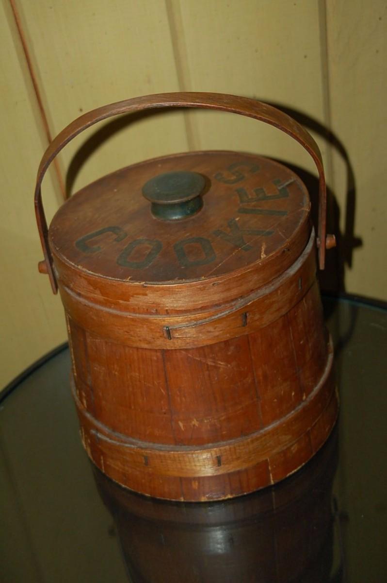 Vintage Wooden Barrel Cookie Jar Container Wood Handle 1950's
