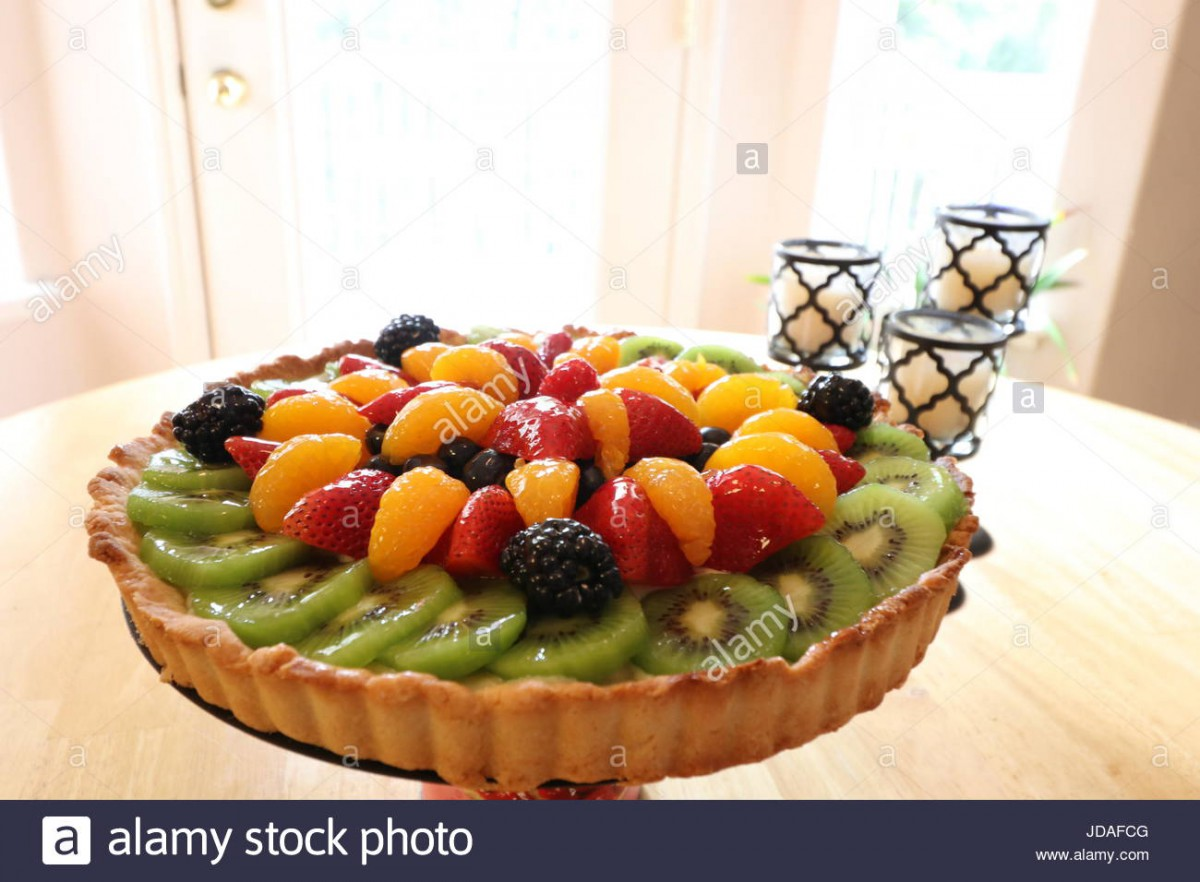 Fresh Summer Fruit Tart With Shortbread Cookie Crust, Layered With