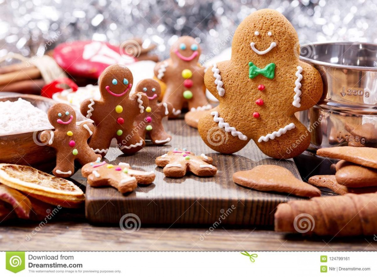Homemade Gingerbread Cookies With Ingredients For Christmas Bak
