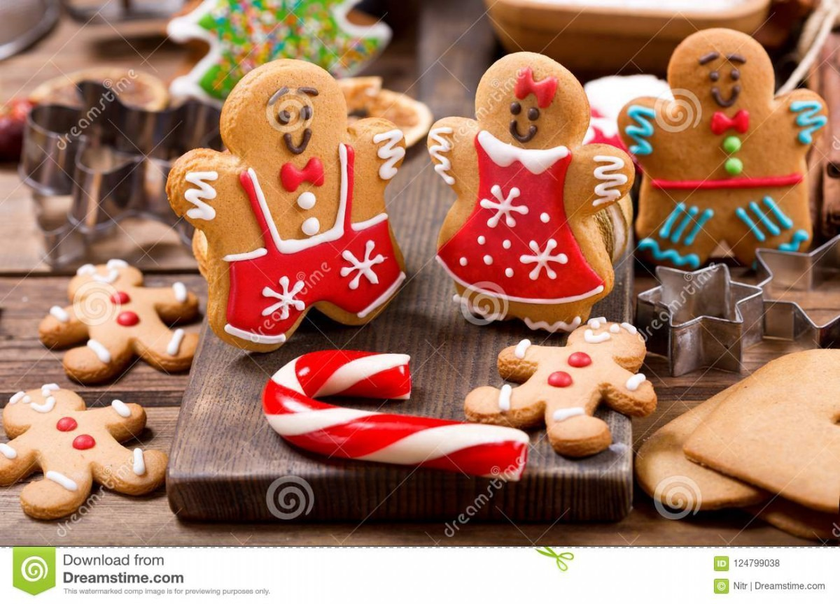Homemade Gingerbread Cookies With Ingredients For Christmas Baking