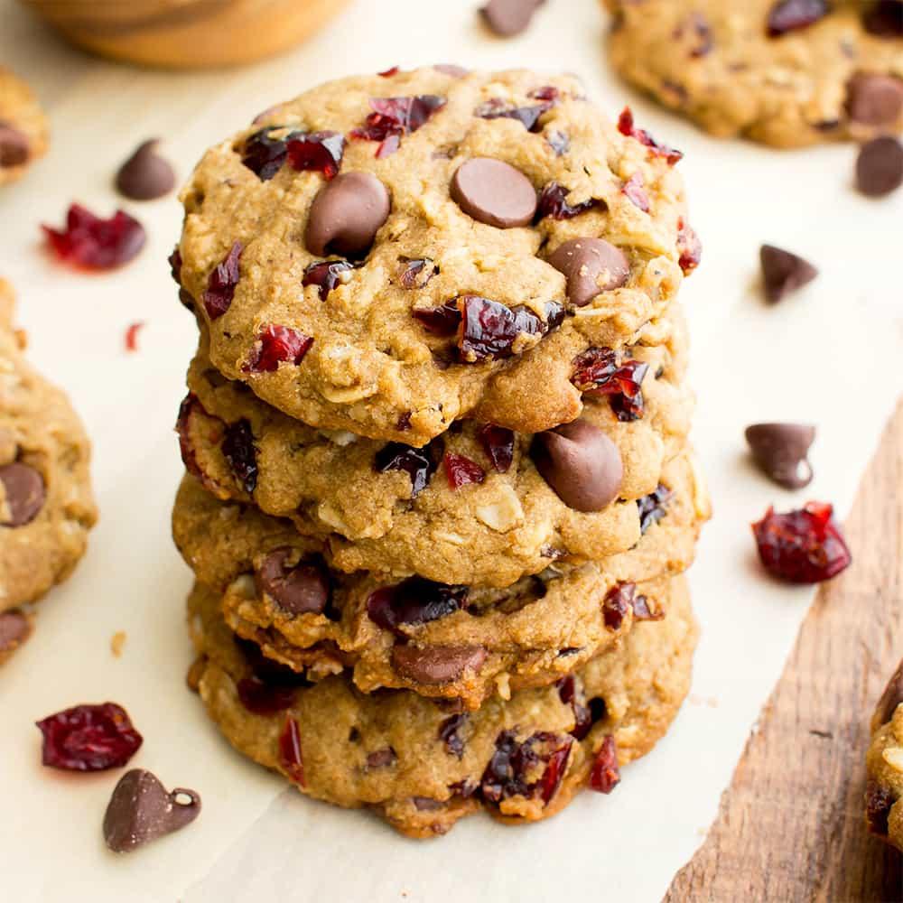 Vegan Cranberry Chocolate Chip Cookies (v, Gluten Free, Oat Flour