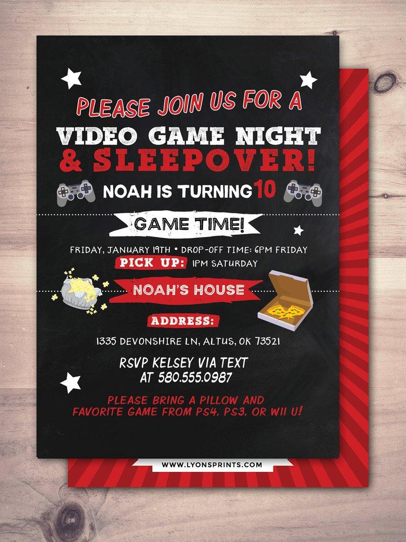 Sleepover Party Invitation   Boy Birthday Invitations