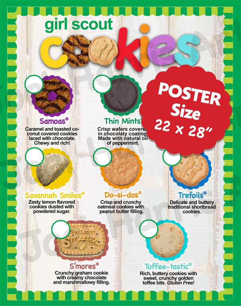 2018 Lbb Girl Scout Cookie Price List Gs Booth Decor Poster