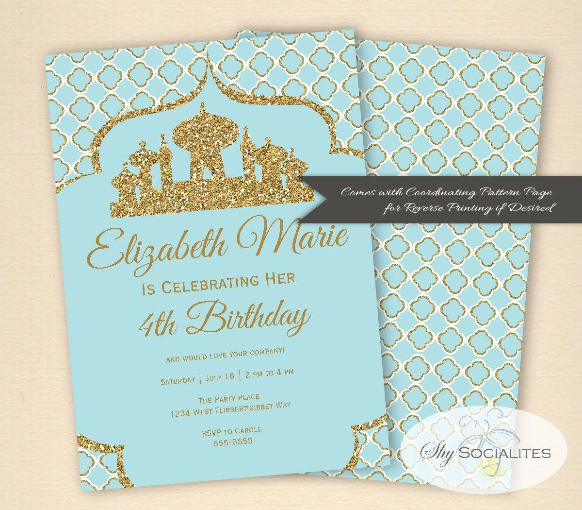 Arabian Invitation Aladdin Magic Arabian Nights