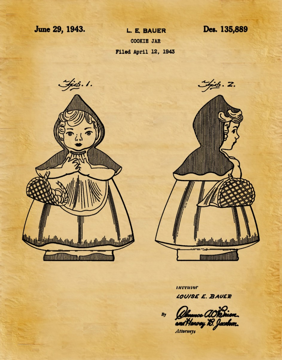1943 Little Red Riding Hood Cookie Jar Patent Print