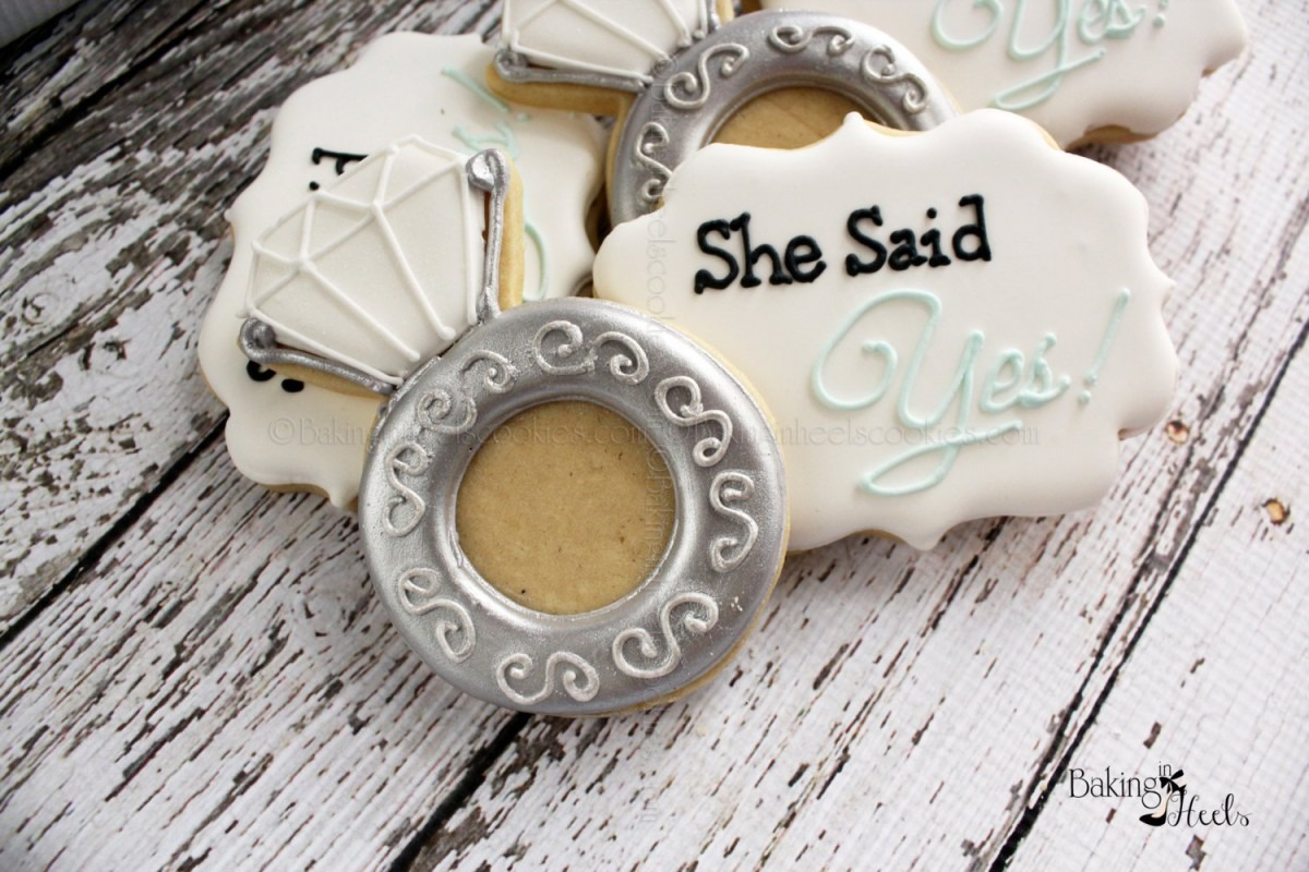 She Said Yes Cookies Diamond Ring Decorated Cookies Wedding