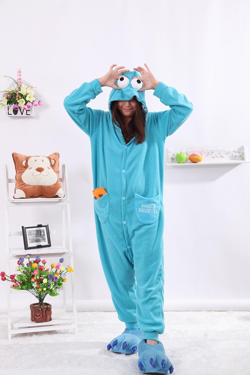 Kigurumi Cartoon Blue Cookie Monster Onesies Adult Pajamas Animal
