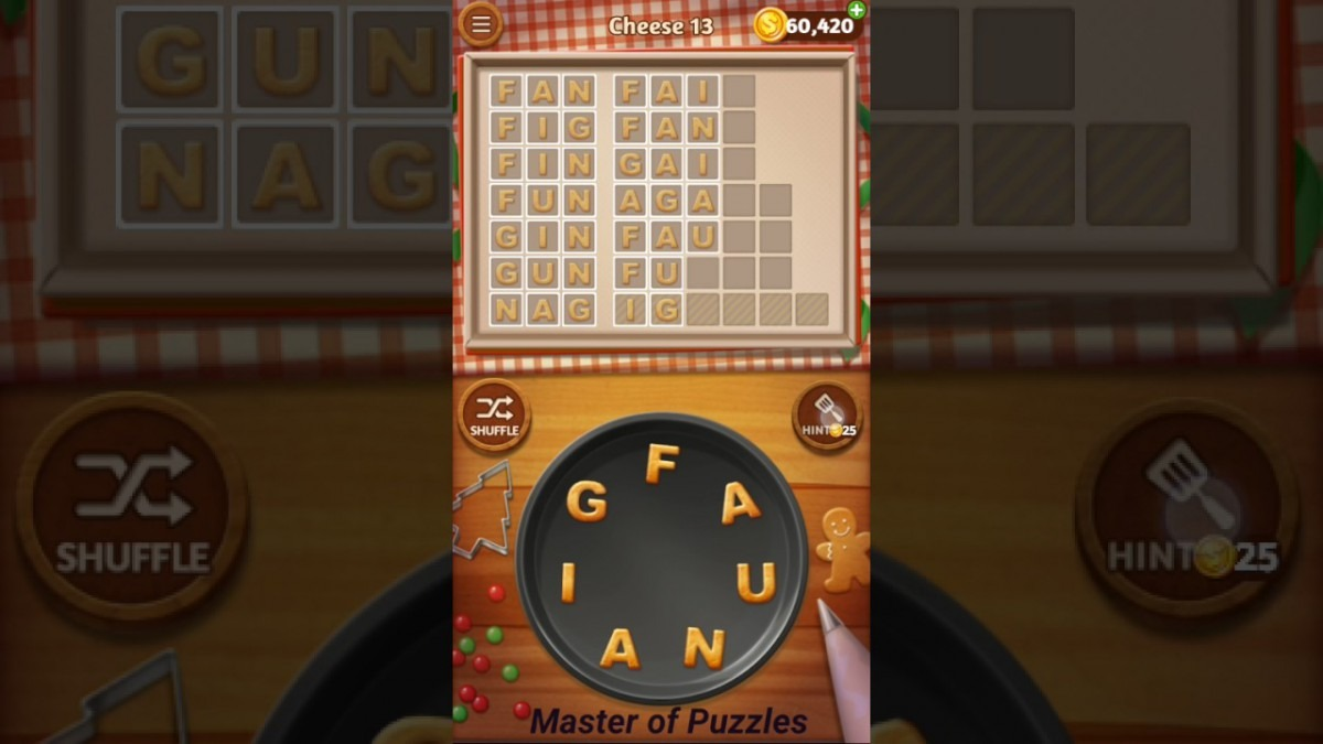 Word Cookies Cheese Level 13 Executive Chef Solved