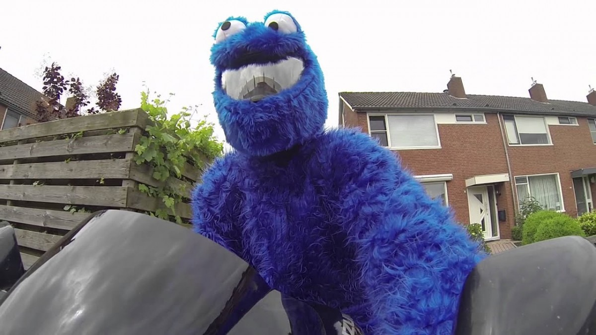 Cookie Monster On Motorcycle!