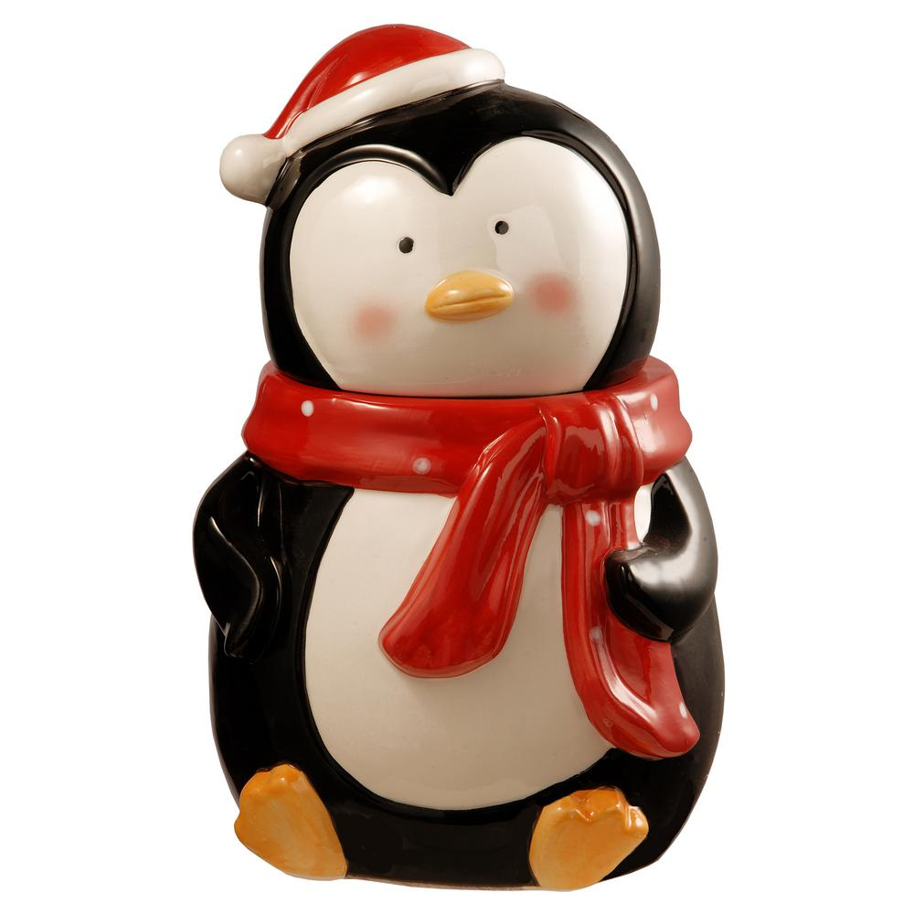National Tree Company 10 In  Dolomite Penguin Cookie Jar