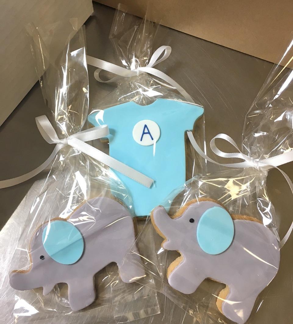 Onesie Elephant Baby Shower Cookies