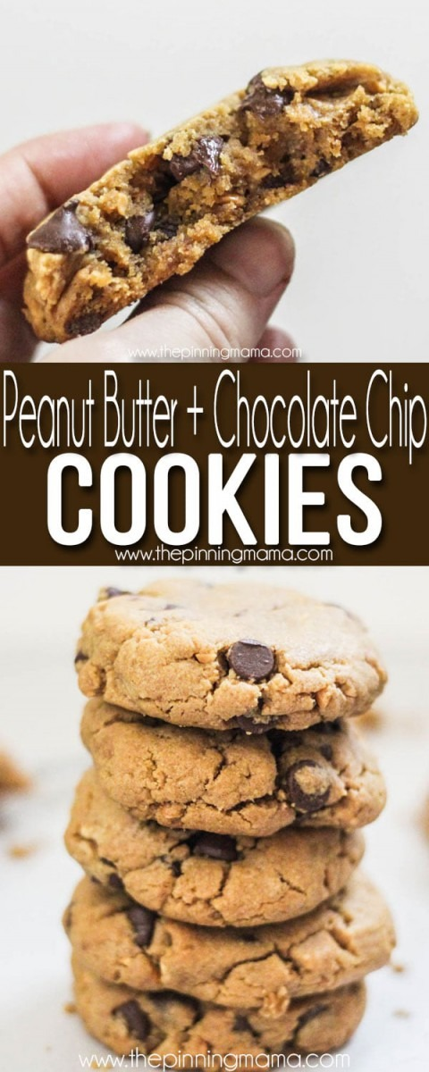 Chewy Peanut Butter Chocolate Chip Cookies • The Pinning Mama