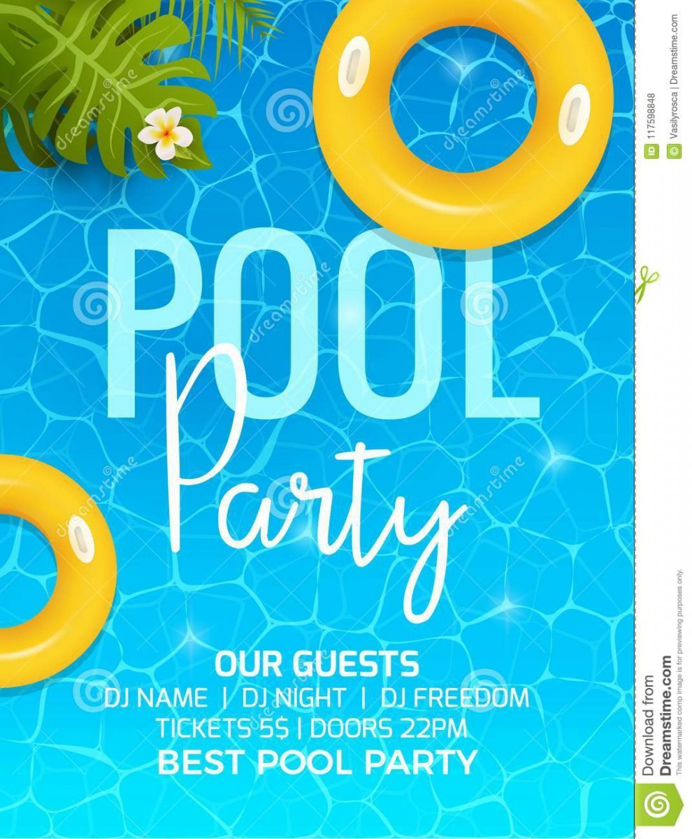 Pool Summer Party Invitation Template Invitation  Pool Party
