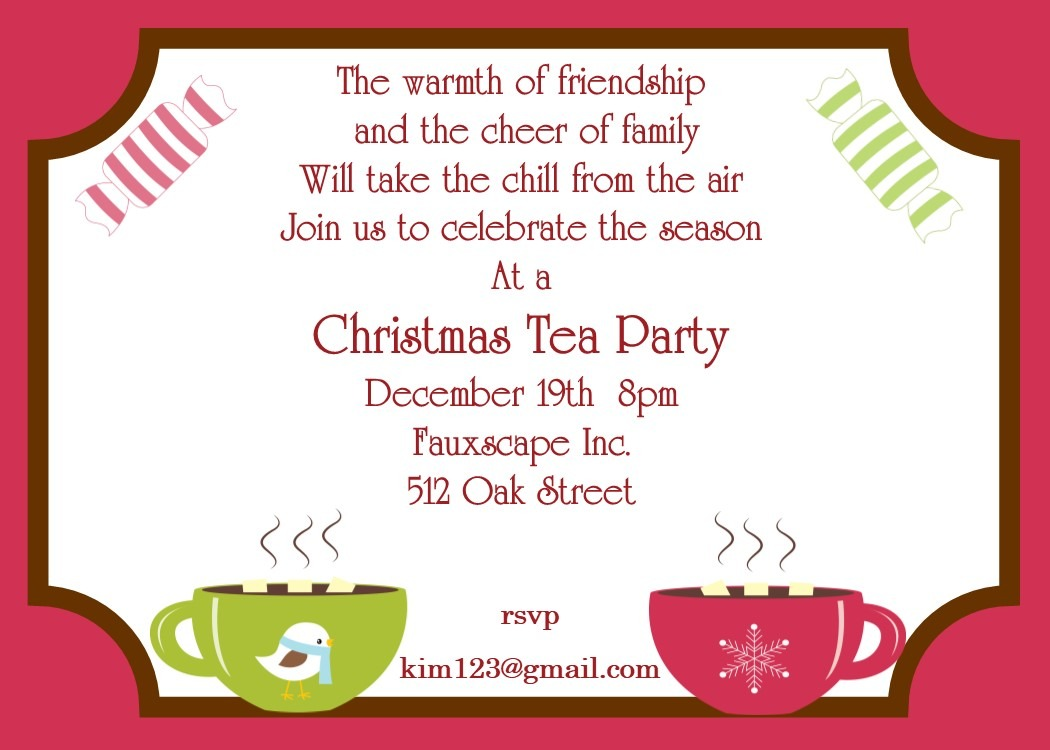 Christmas Tea Party Invitations 2019