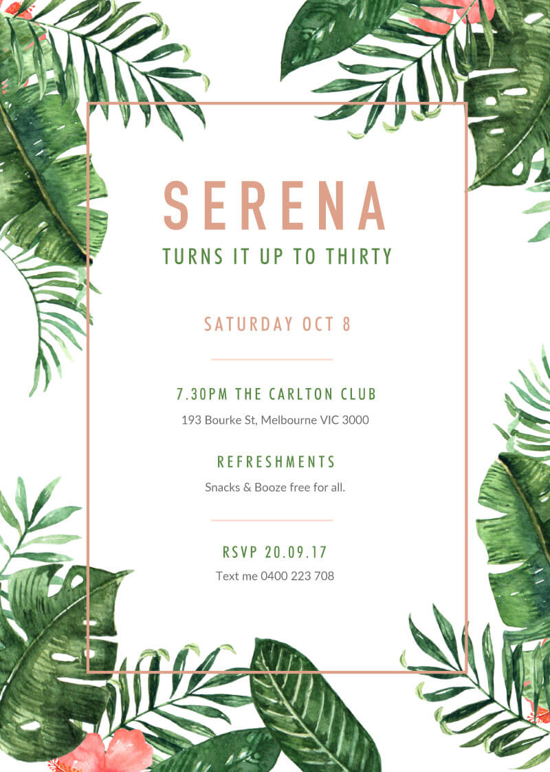 Tropical Party Invitations